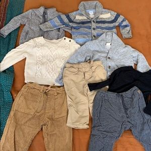 12 to 18 months old sweaters and pants bundle